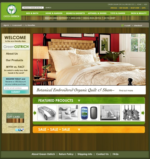 green living e commerce web site